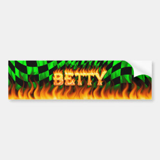 Betty real fire and flames bumper sticker design