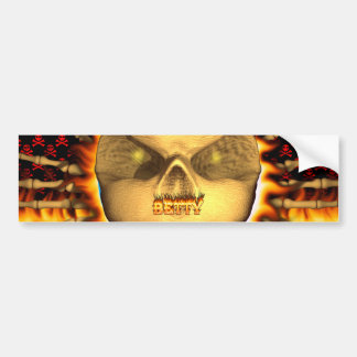 Betty skull real fire and flames bumper sticker.