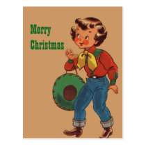 Betty the Cowgirl Merry Christmas Postcard