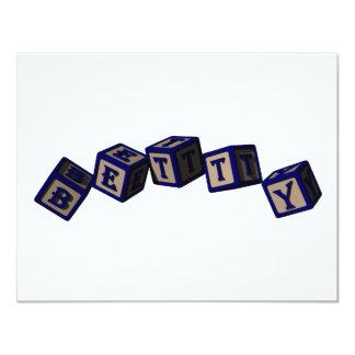Betty toy blocks in blue. card