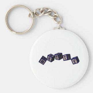 Betty toy blocks in blue. basic round button keychain