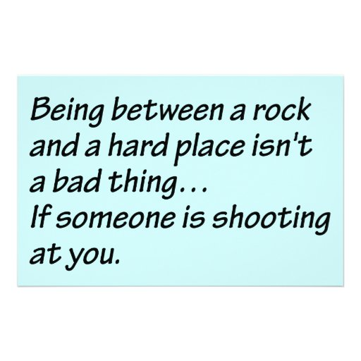 Between a Rock and a Hard Place - Senior citizens Stationery Paper