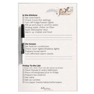 Between Carpools Shabbos Checklist Dry-Erase Board