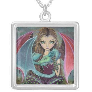 Between Flights Gothic Fantasy Fairy Dragon Art Square Pendant Necklace