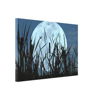 Between Moon and Marsh Canvas Art Print