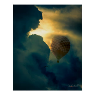 Between The Clouds Hot Air Balloon Poster