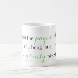 Between the pages of a book coffee mug