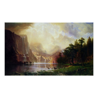 Between the Sierra Nevada Mountains by Bierstadt Poster