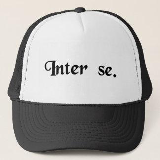 Between themselves. trucker hat