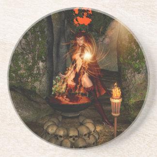 Beuatiful witch beverage coaster