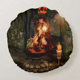 Beuatiful witch round pillow