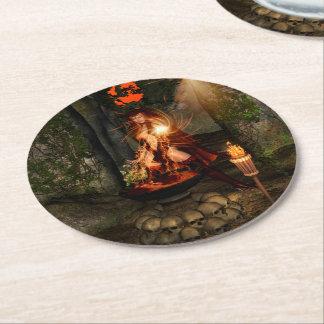Beuatiful witch round paper coaster