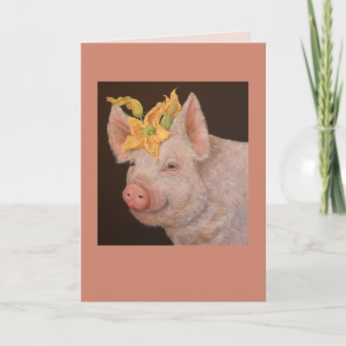 Beullah the pig card
