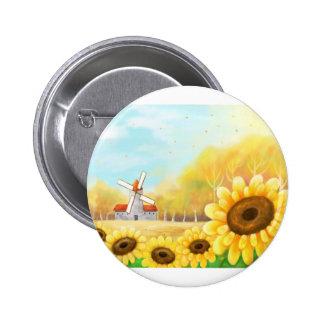 beutiful flower with windmill scene pinback button
