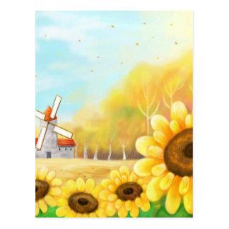 beutiful flower with windmill scene postcard