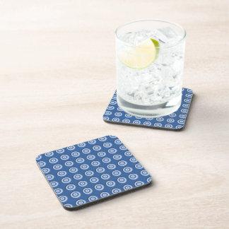 Beveled blue white circles pattern beverage coaster