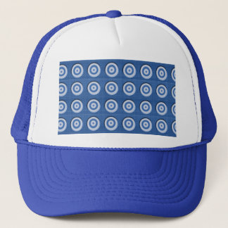 Beveled blue white circles pattern trucker hat