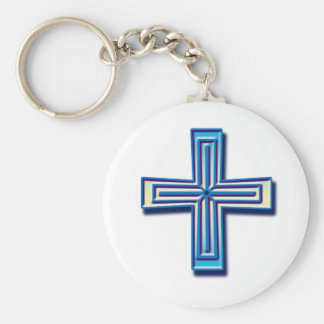 Beveled Cross 1 Keychain