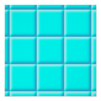 Beveled edged turquoise tiled pattern on a poster