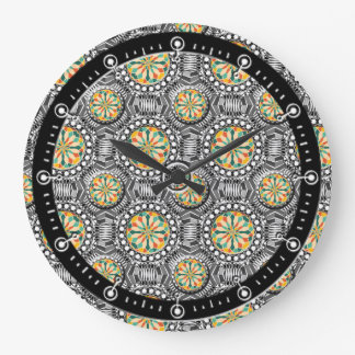 Beveled geometric pattern large clock