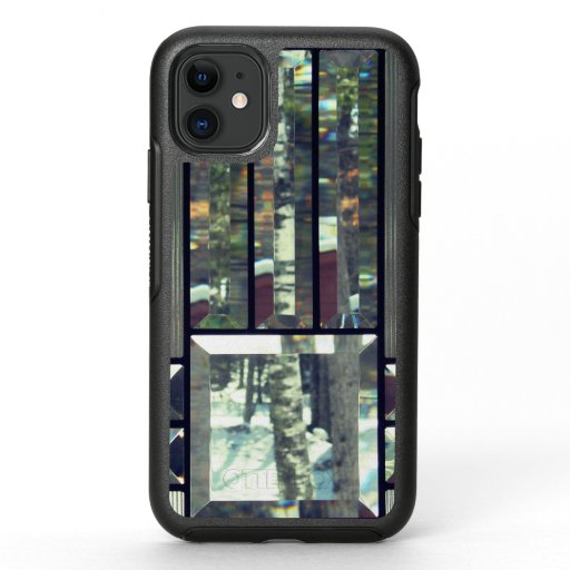 Beveled glass and birch trees metallic silver OtterBox symmetry iPhone 11 case