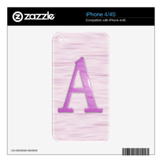 "Beveled letter ""A"" pink iphone skin iPhone 4S Decals"