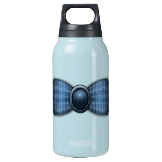 Beverage Bottle, Cute Blue Plaid Ribbon Insulated Water Bottle