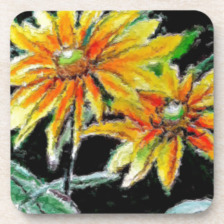 Beverage Coasters with Sunflower Art