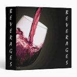 Beverages Recipe Book 3 Ring Binder