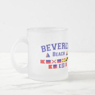 Beverly Beach, FL - Nautical Flag Spelling 10 Oz Frosted Glass Coffee Mug