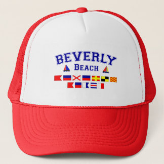 Beverly Beach, FL - Nautical Flag Spelling Trucker Hat