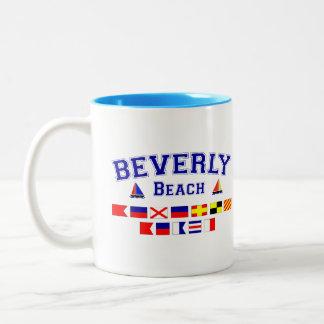 Beverly Beach, FL - Nautical Flag Spelling Two-Tone Coffee Mug