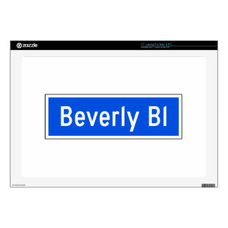 """Beverly Boulevard, Los Angeles, CA Street Sign Decal For 17"""" Laptop"""