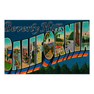 Beverly Hills, California - Large Letter Scenes Poster