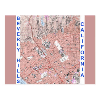 Beverly Hills California Physical Map 1995 Postcard