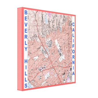 Beverly Hills California Vintage Map (1995) Wrappe Canvas Print