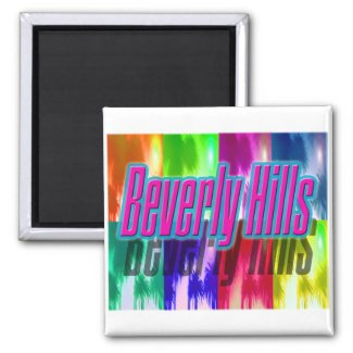 """Beverly Hills"" Colorful Palms Magnet"