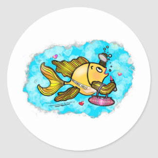 Beverly Hills Housewife Fish cute funny comics Classic Round Sticker