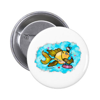 Beverly Hills Housewife Fish cute funny comics Pinback Button