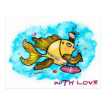 Beverly Hills Housewife Fish cute funny comics Post Card
