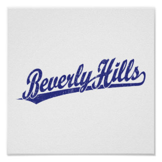 Beverly Hills script logo in blue Poster