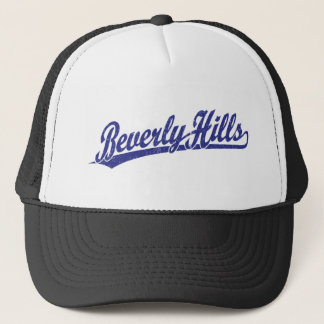 Beverly Hills script logo in blue Trucker Hat