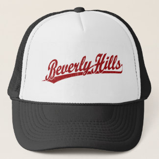 Beverly Hills script logo in red Trucker Hat