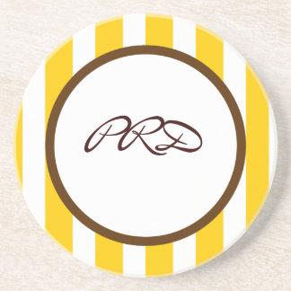 Beverly Hills Stripe Custom Monogram Drink Coasters