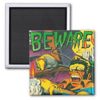 Beware! 2 Inch Square Magnet