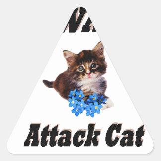 Beware Attack Cat Triangle Sticker
