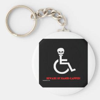 Beware Basic Round Button Keychain