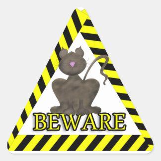 Beware Black Cat Triangle Sticker