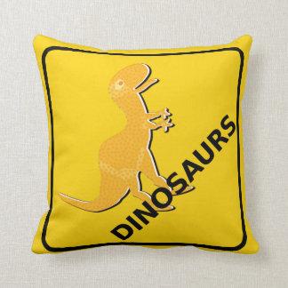 Beware Cartoon Dinosaurs Warning Sign T-Rex Throw Pillows