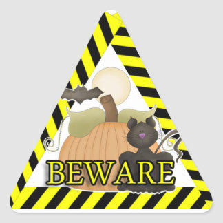 Beware Cat With Pumpkin And Bat Triangle Stickers
